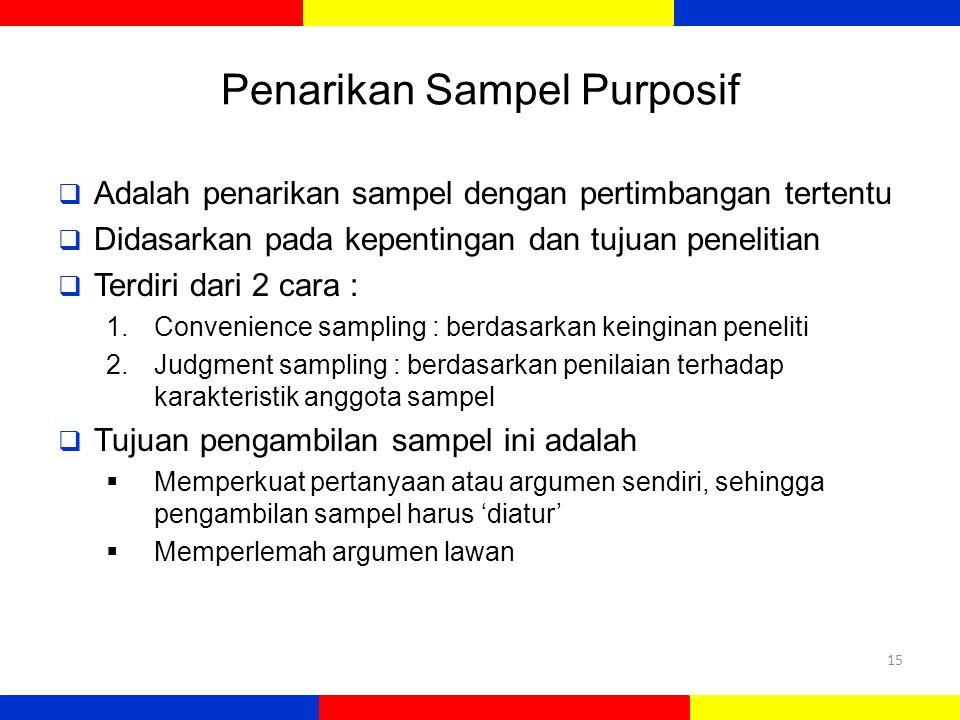 Penarikan Sampel Purposif