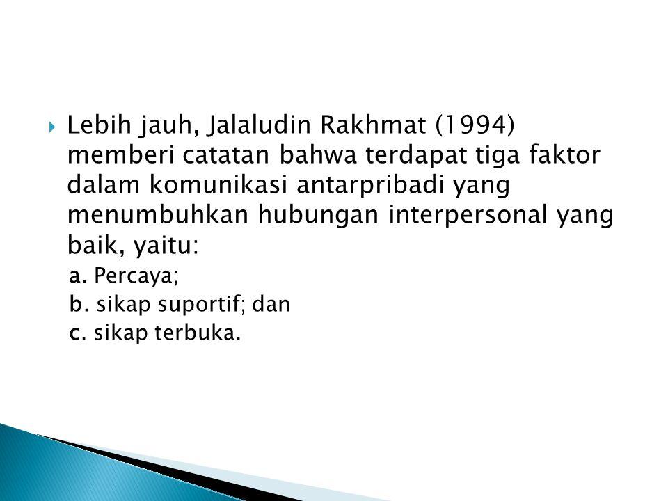 Lebih jauh, Jalaludin Rakhmat (1994) memberi catatan bahwa terdapat tiga faktor dalam komunikasi antarpribadi yang menumbuhkan hubungan interpersonal yang baik, yaitu: