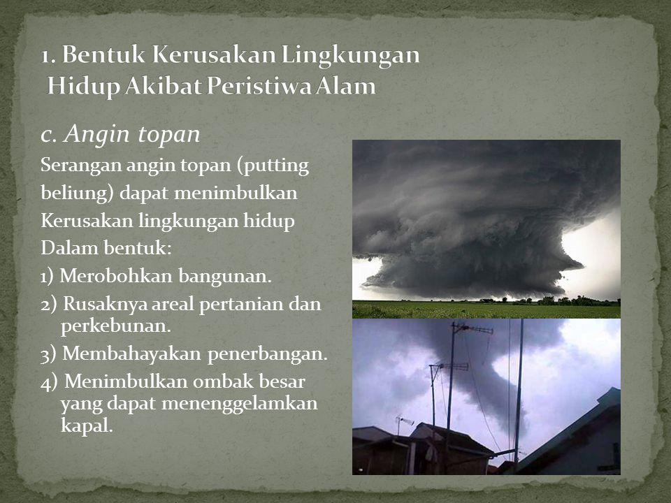 1. Bentuk Kerusakan Lingkungan Hidup Akibat Peristiwa Alam