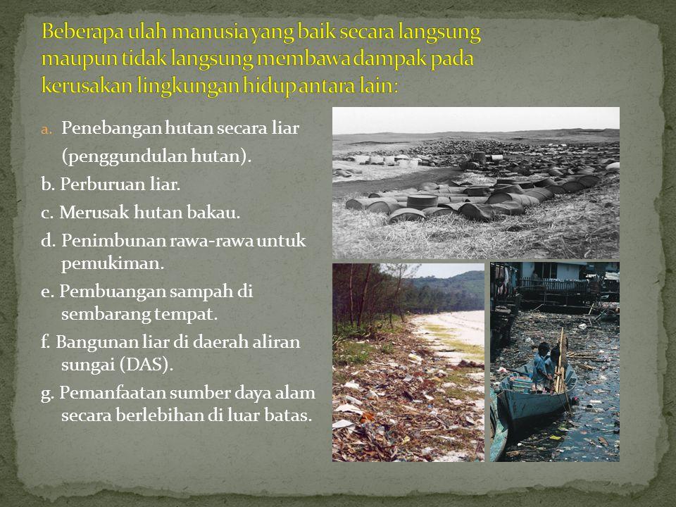 Beberapa ulah manusia yang baik secara langsung maupun tidak langsung membawa dampak pada kerusakan lingkungan hidup antara lain: