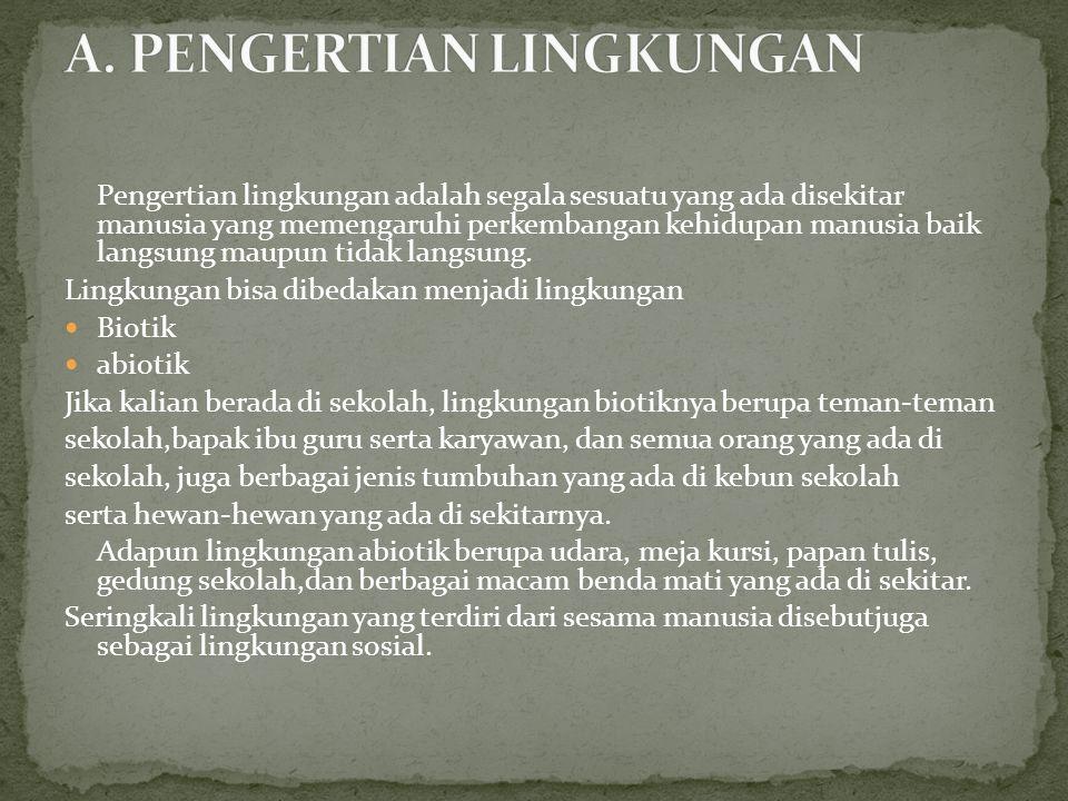 A. PENGERTIAN LINGKUNGAN