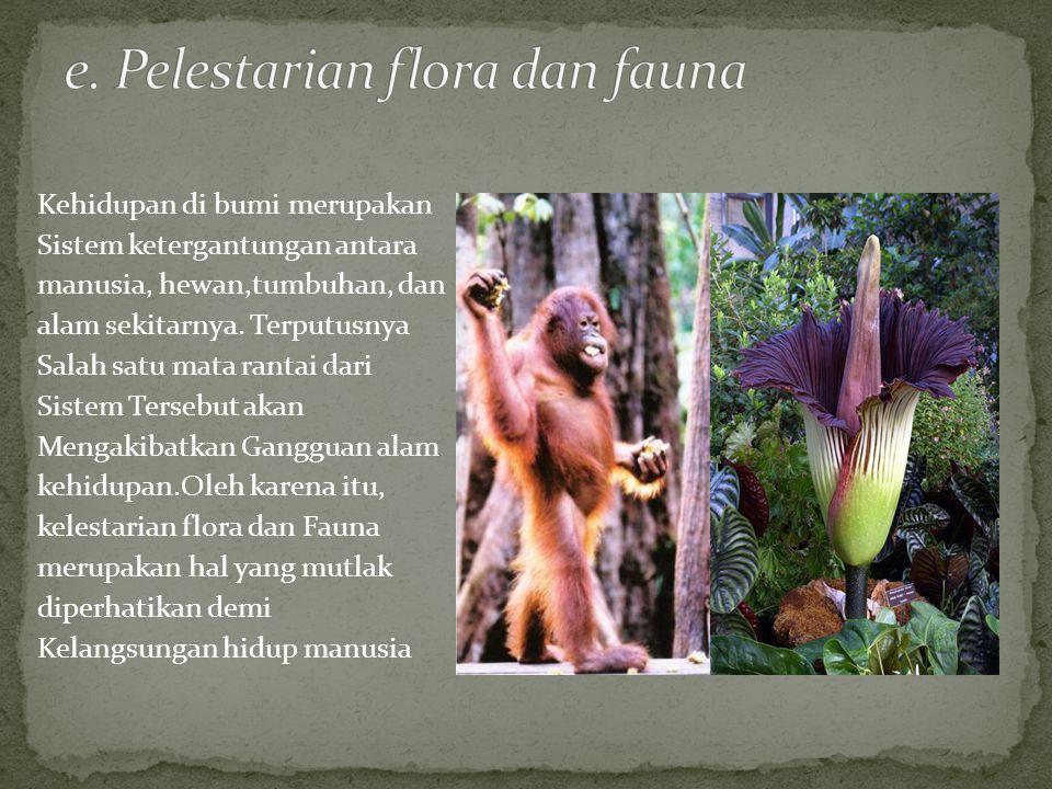e. Pelestarian flora dan fauna