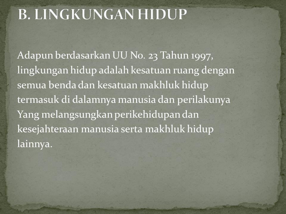 B. LINGKUNGAN HIDUP