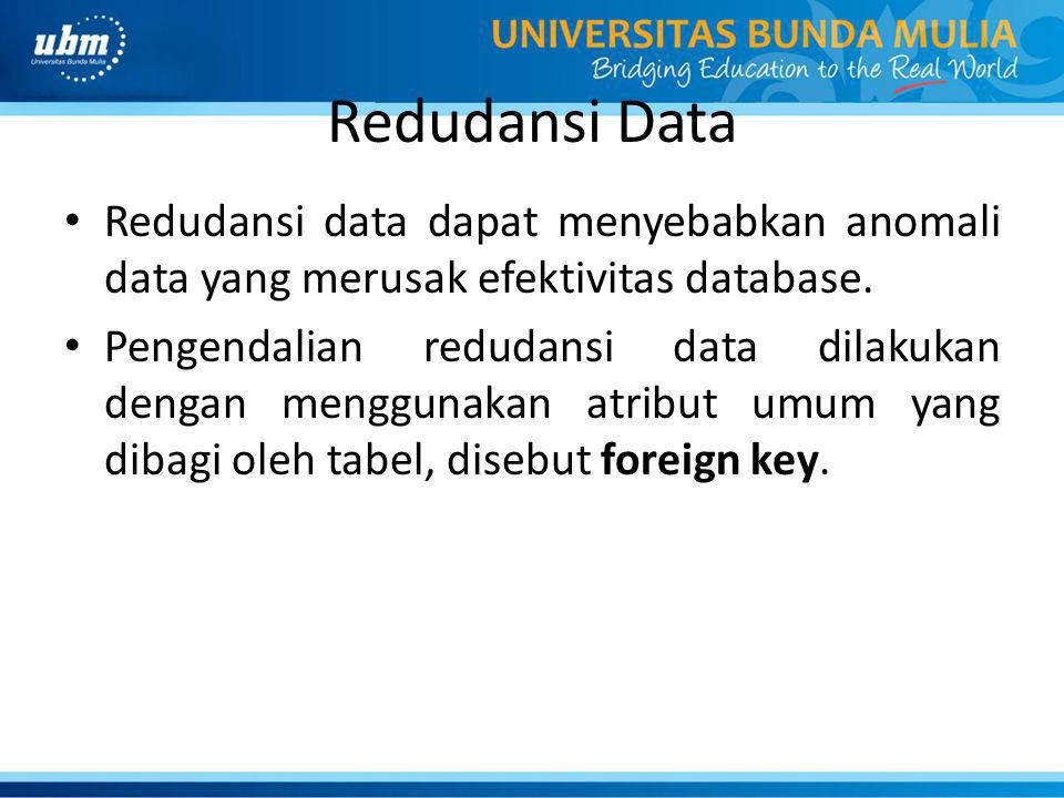 Redudansi Data Redudansi data dapat menyebabkan anomali data yang merusak efektivitas database.