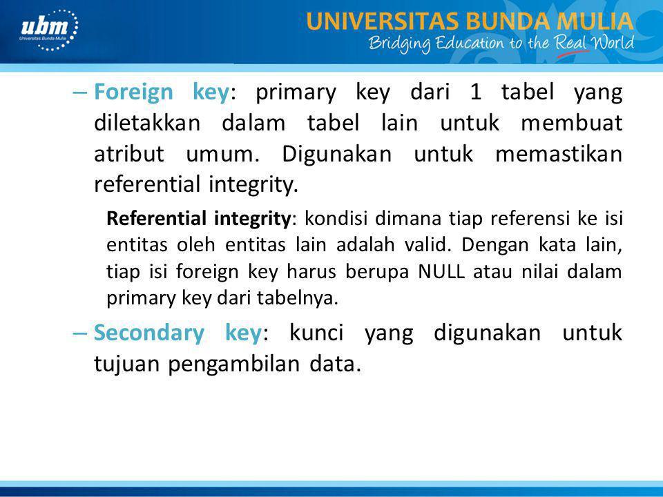 Secondary key: kunci yang digunakan untuk tujuan pengambilan data.