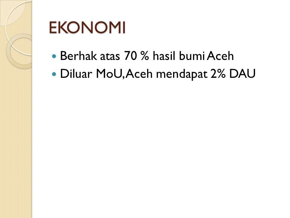 EKONOMI Berhak atas 70 % hasil bumi Aceh