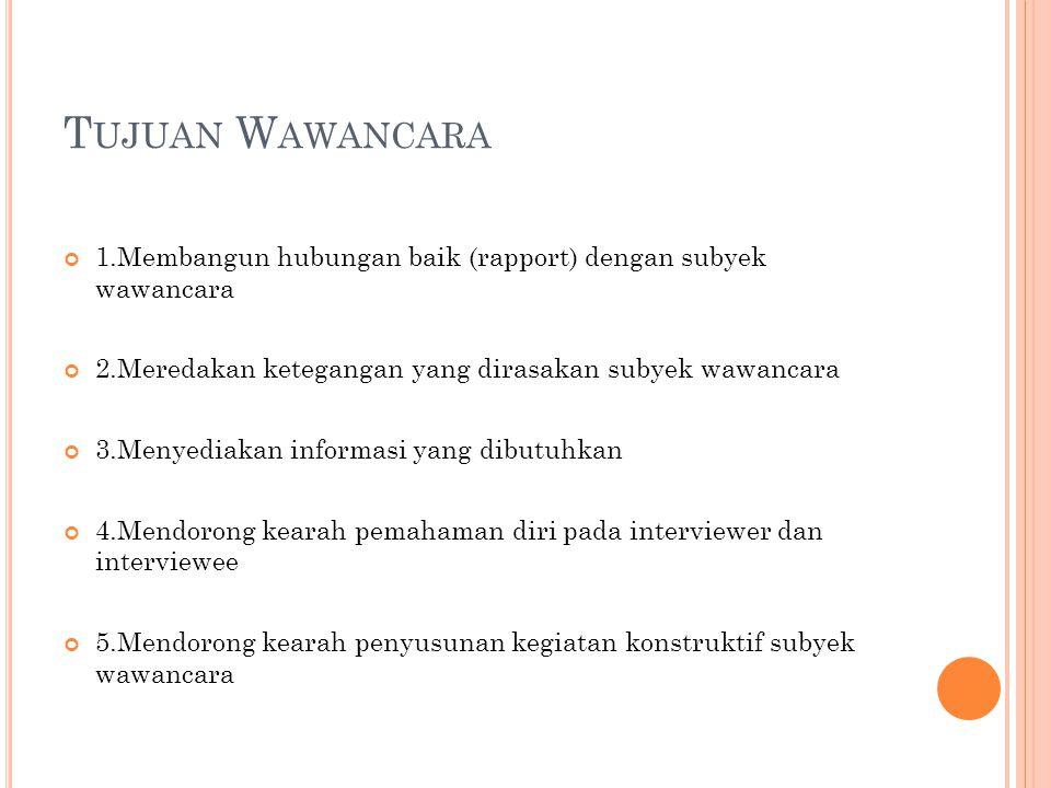 Tujuan Wawancara 1.Membangun hubungan baik (rapport) dengan subyek wawancara. 2.Meredakan ketegangan yang dirasakan subyek wawancara.