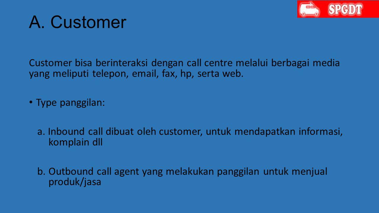 A. Customer Customer bisa berinteraksi dengan call centre melalui berbagai media yang meliputi telepon, email, fax, hp, serta web.