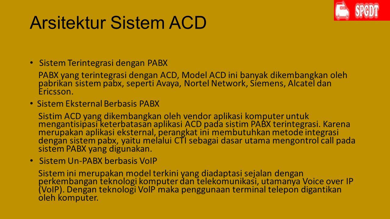 Arsitektur Sistem ACD Sistem Terintegrasi dengan PABX