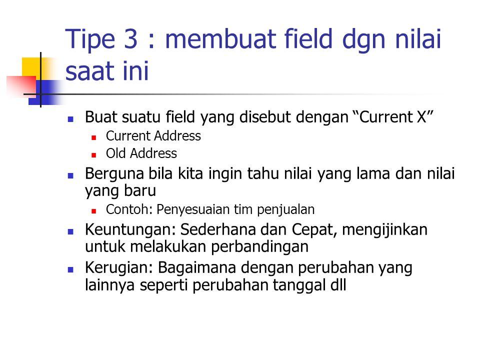 Tipe 3 : membuat field dgn nilai saat ini