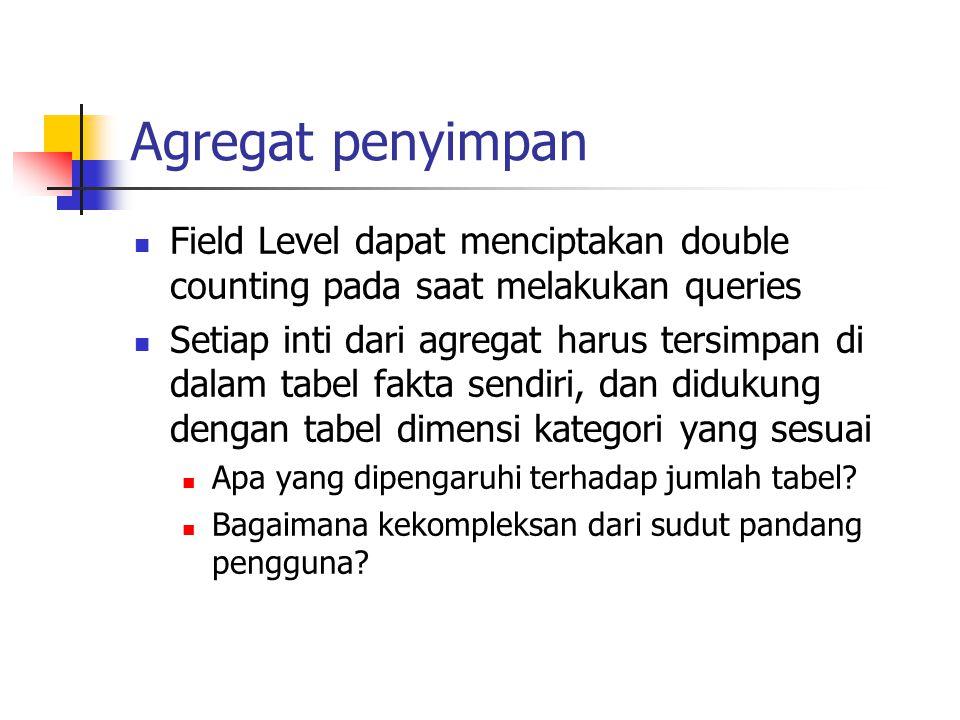 Agregat penyimpan Field Level dapat menciptakan double counting pada saat melakukan queries.