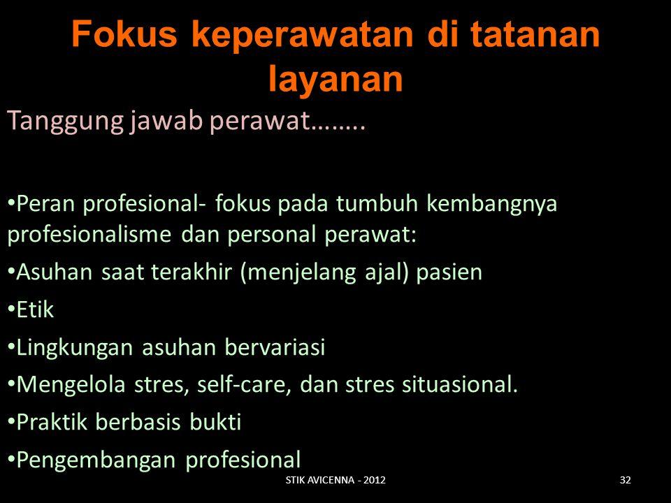 Fokus keperawatan di tatanan layanan