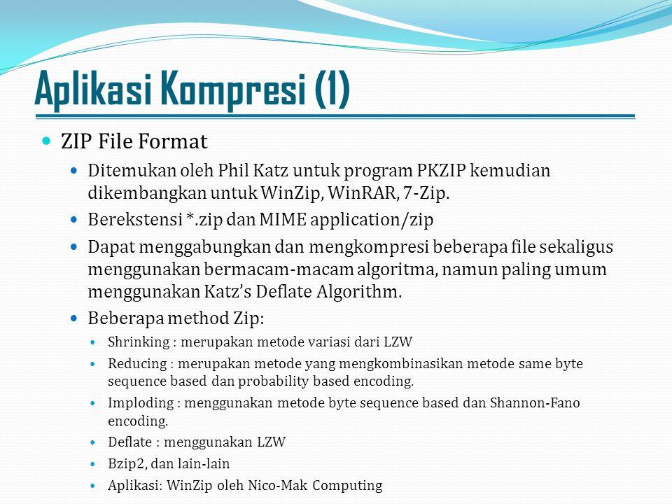 Aplikasi Kompresi (1) ZIP File Format