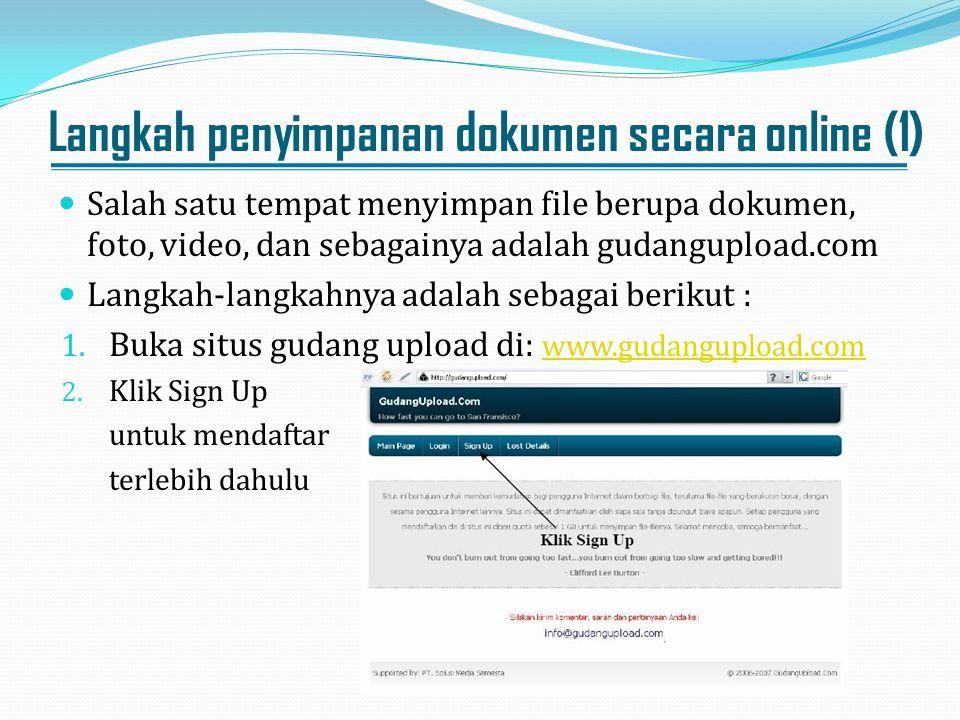 Langkah penyimpanan dokumen secara online (1)