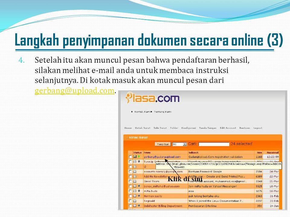 Langkah penyimpanan dokumen secara online (3)