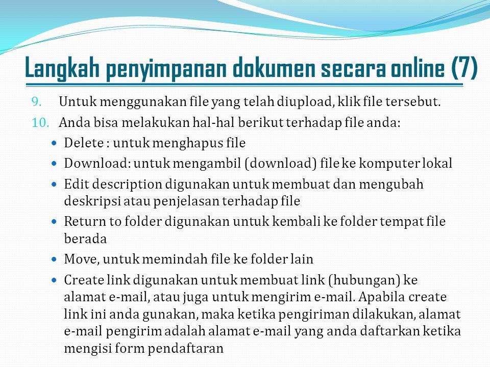Langkah penyimpanan dokumen secara online (7)