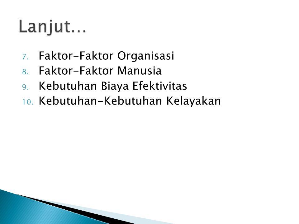 Lanjut… Faktor-Faktor Organisasi Faktor-Faktor Manusia