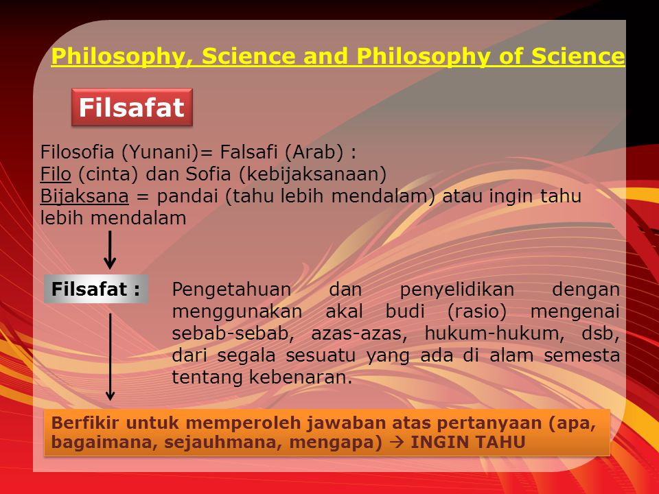 Filsafat Philosophy, Science and Philosophy of Science