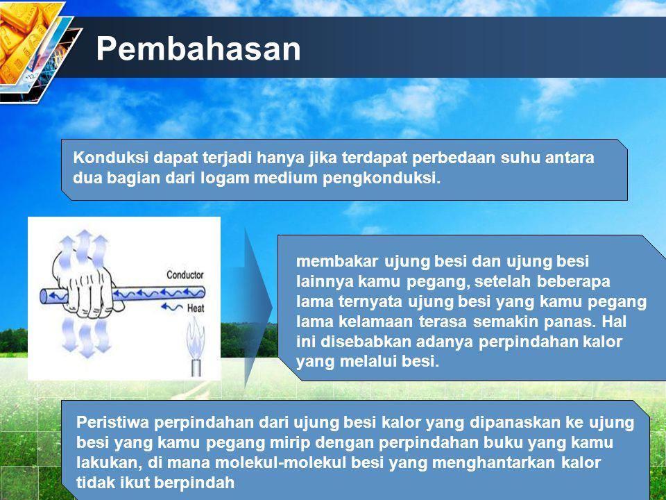 Pembahasan Konduksi dapat terjadi hanya jika terdapat perbedaan suhu antara dua bagian dari logam medium pengkonduksi.