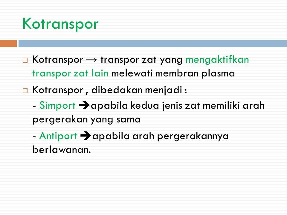 Kotranspor Kotranspor → transpor zat yang mengaktifkan transpor zat lain melewati membran plasma. Kotranspor , dibedakan menjadi :