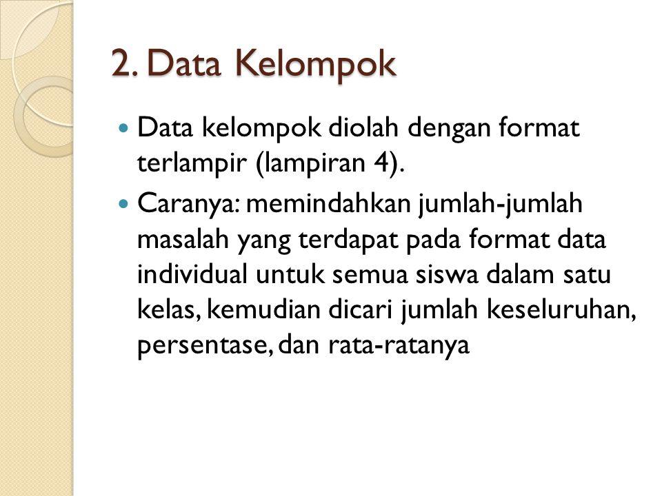 2. Data Kelompok Data kelompok diolah dengan format terlampir (lampiran 4).