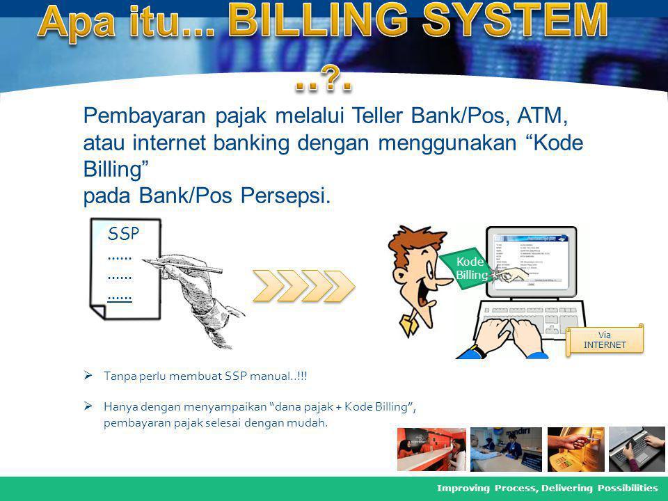 Apa itu... BILLING SYSTEM .. . Pembayaran pajak melalui Teller Bank/Pos, ATM, atau internet banking dengan menggunakan Kode Billing