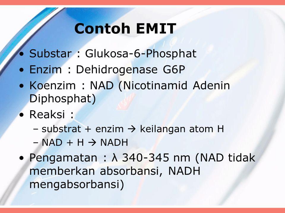 Contoh EMIT Substar : Glukosa-6-Phosphat Enzim : Dehidrogenase G6P