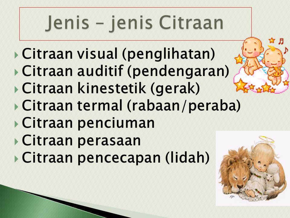 Jenis – jenis Citraan Citraan visual (penglihatan)