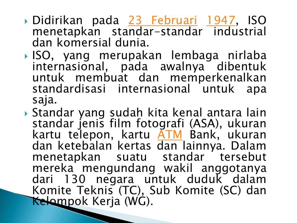 Didirikan pada 23 Februari 1947, ISO menetapkan standar-standar industrial dan komersial dunia.