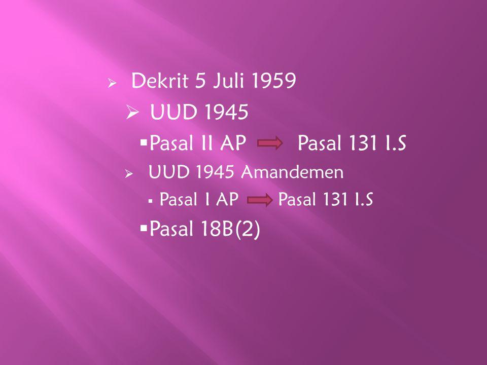 UUD 1945 Pasal II AP Pasal 131 I.S Pasal 18B(2) UUD 1945 Amandemen
