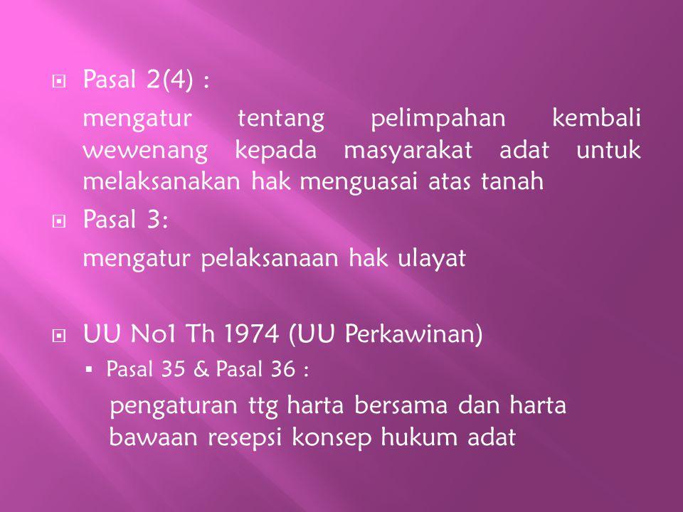 mengatur pelaksanaan hak ulayat UU No1 Th 1974 (UU Perkawinan)