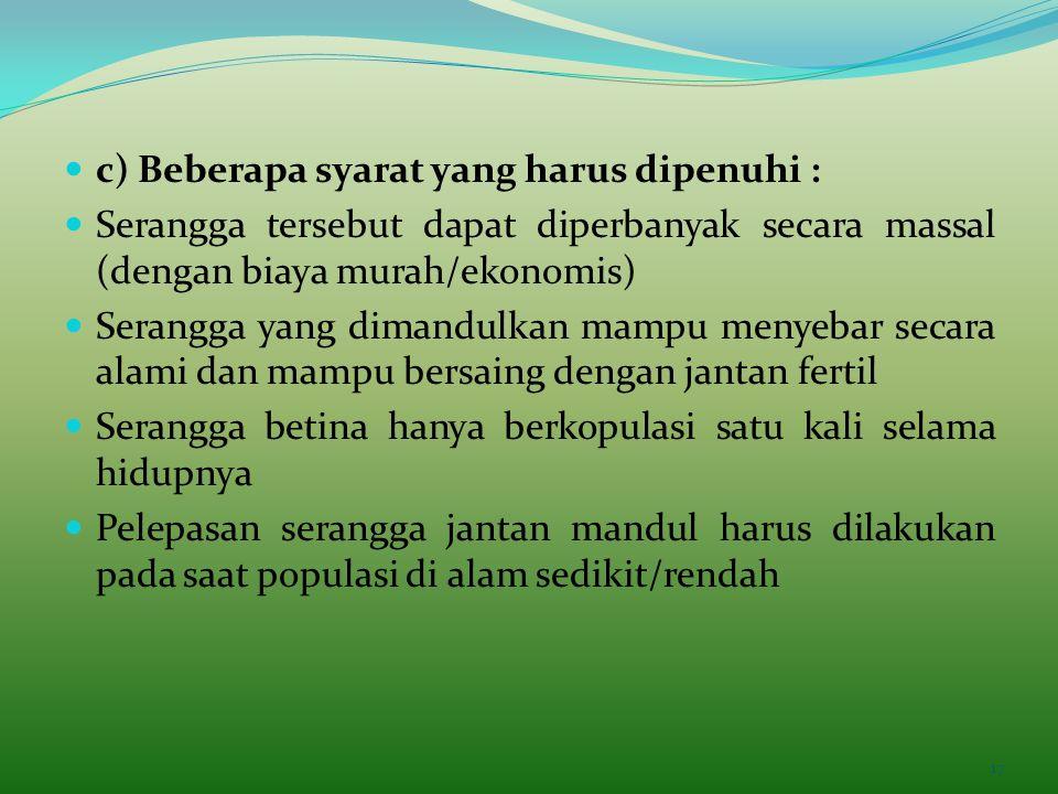 c) Beberapa syarat yang harus dipenuhi :