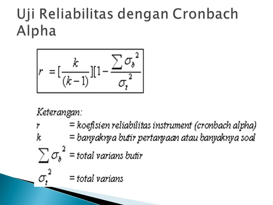Uji Reliabilitas dengan Cronbach Alpha