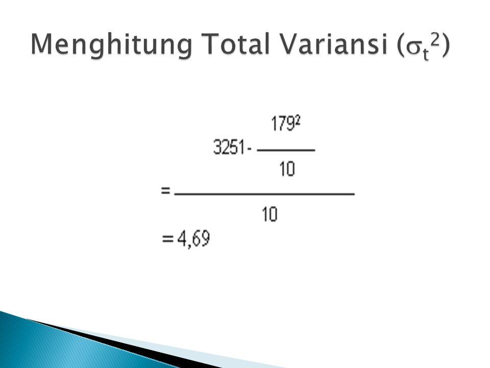 Menghitung Total Variansi (t2)