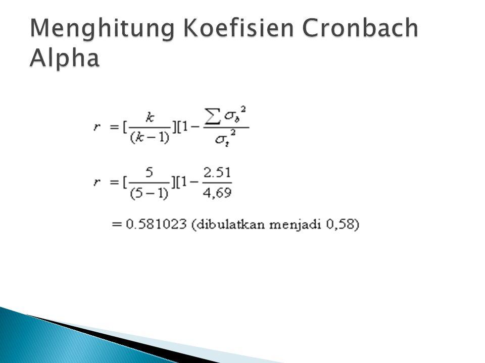 Menghitung Koefisien Cronbach Alpha