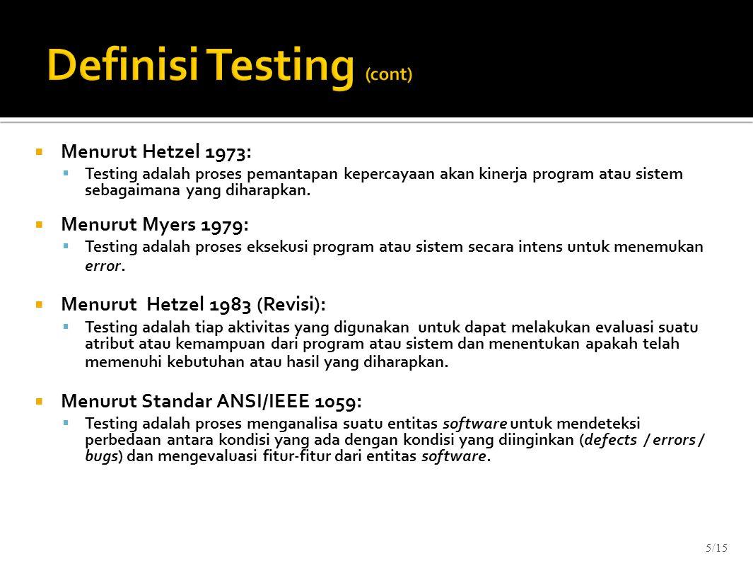 Definisi Testing (cont)