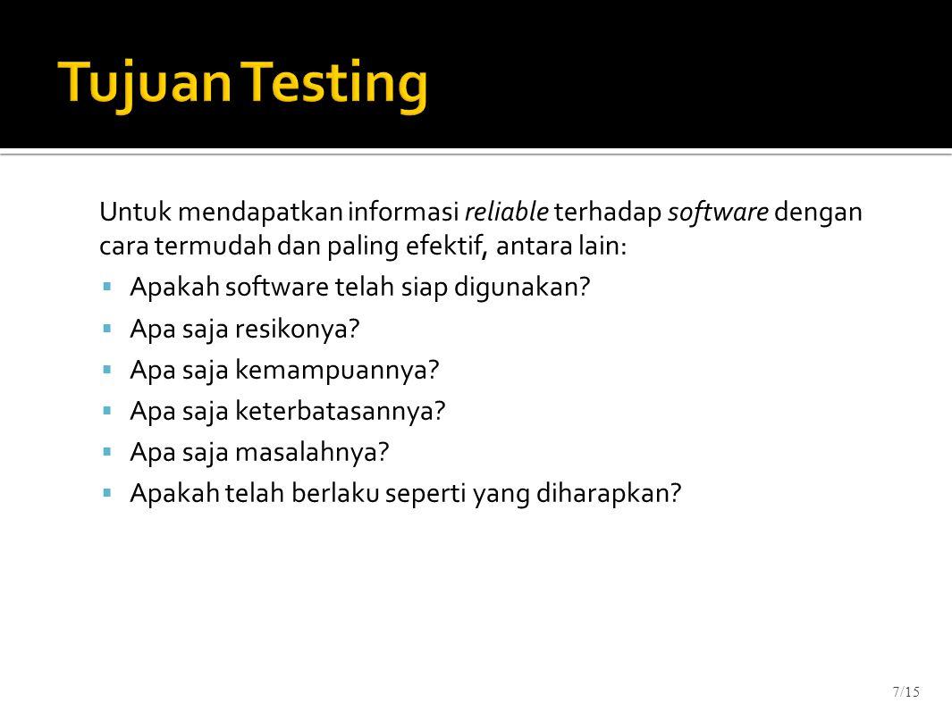 Tujuan Testing Untuk mendapatkan informasi reliable terhadap software dengan cara termudah dan paling efektif, antara lain: