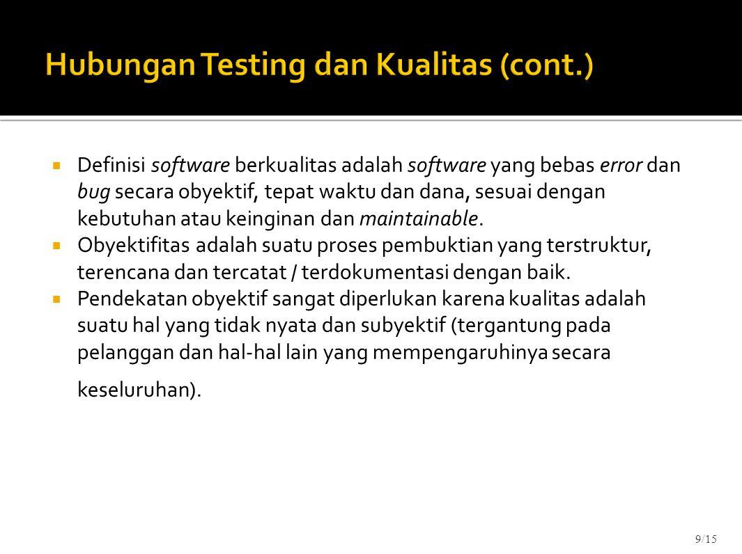 Hubungan Testing dan Kualitas (cont.)