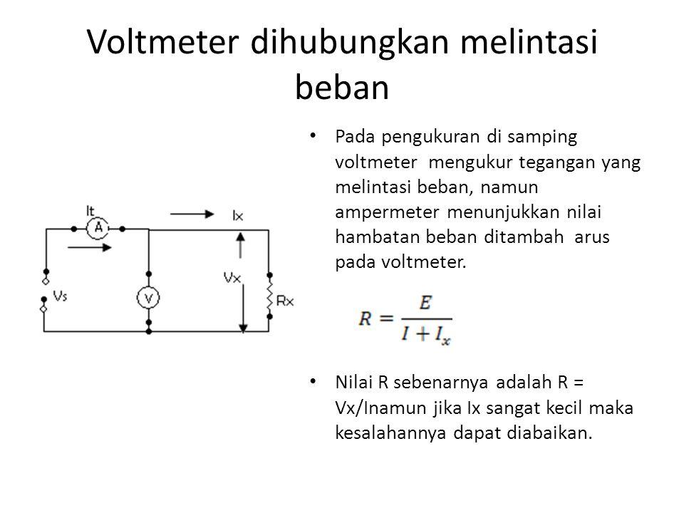 Voltmeter dihubungkan melintasi beban