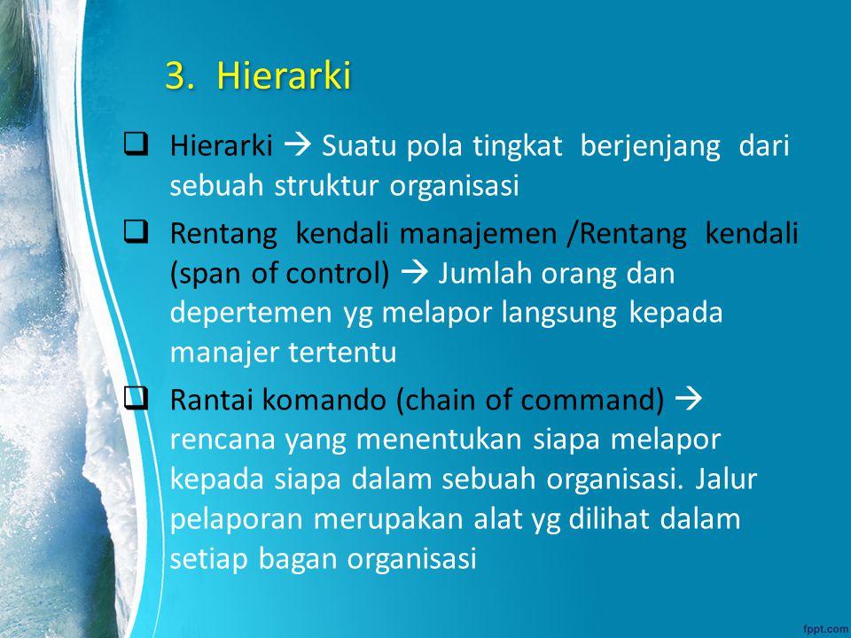 3. Hierarki Hierarki  Suatu pola tingkat berjenjang dari sebuah struktur organisasi.