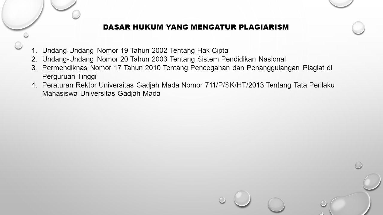 Dasar Hukum Yang Mengatur Plagiarism