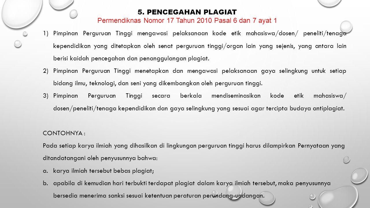 Permendiknas Nomor 17 Tahun 2010 Pasal 6 dan 7 ayat 1