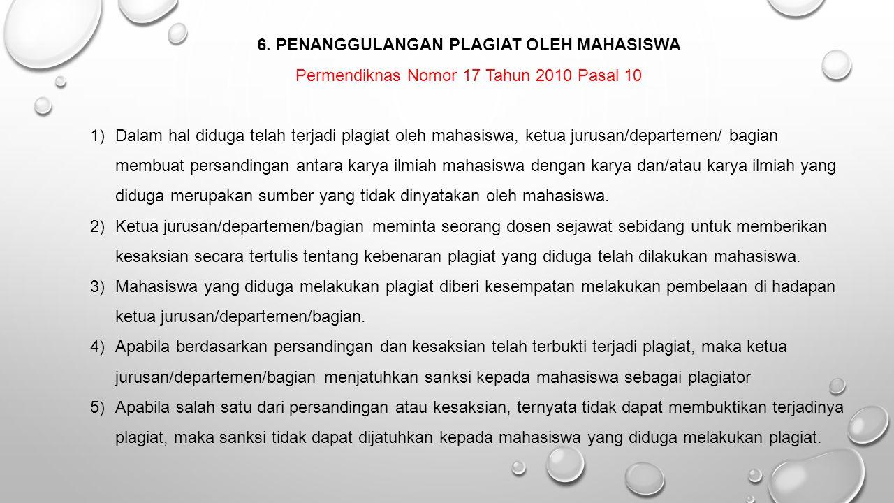 6. PENANGGULANGAN PLAGIAT OLEH MAHASISWA