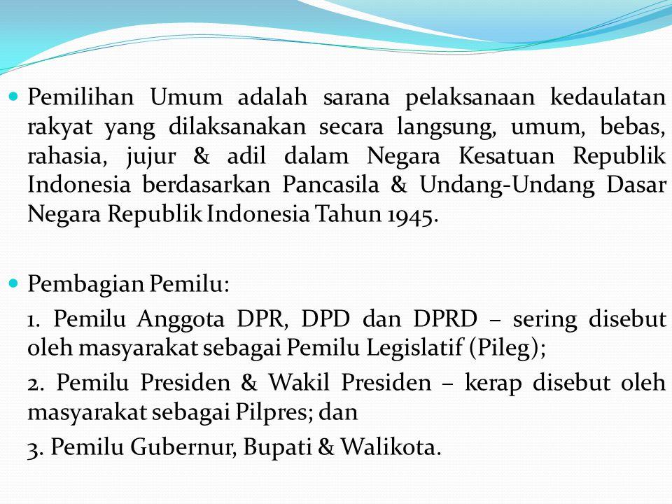 Pemilihan Umum adalah sarana pelaksanaan kedaulatan rakyat yang dilaksanakan secara langsung, umum, bebas, rahasia, jujur & adil dalam Negara Kesatuan Republik Indonesia berdasarkan Pancasila & Undang-Undang Dasar Negara Republik Indonesia Tahun 1945.