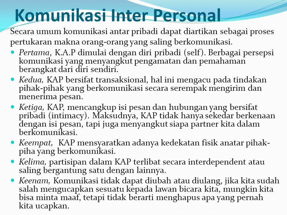 Komunikasi Inter Personal