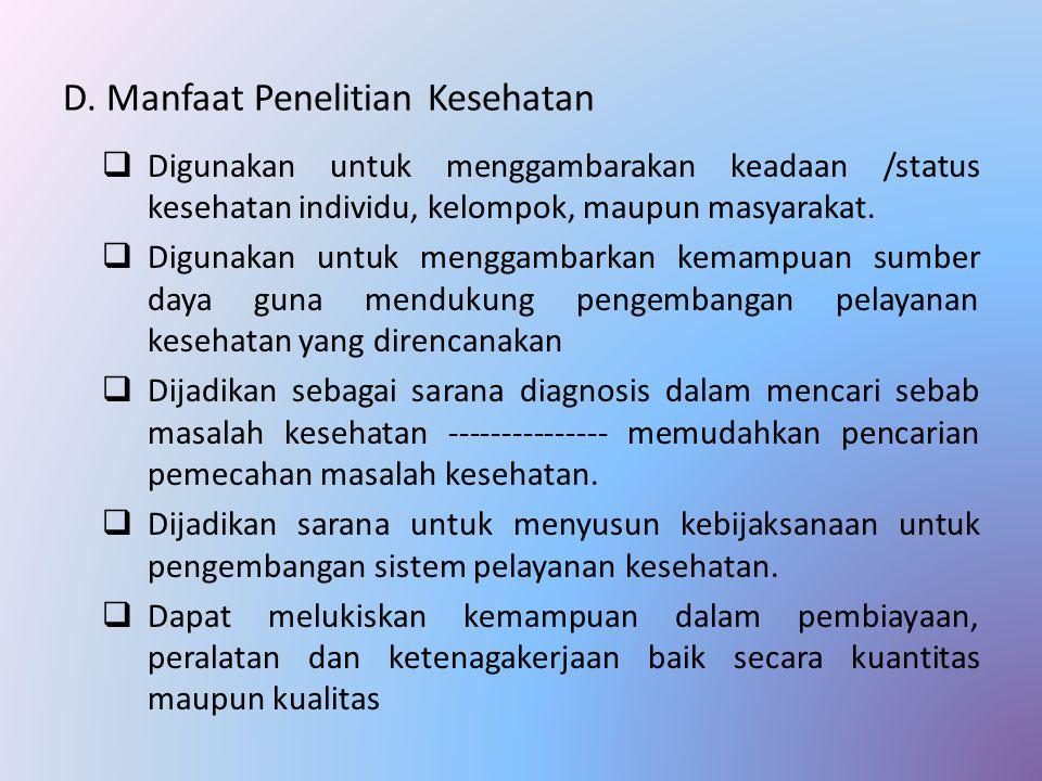 D. Manfaat Penelitian Kesehatan