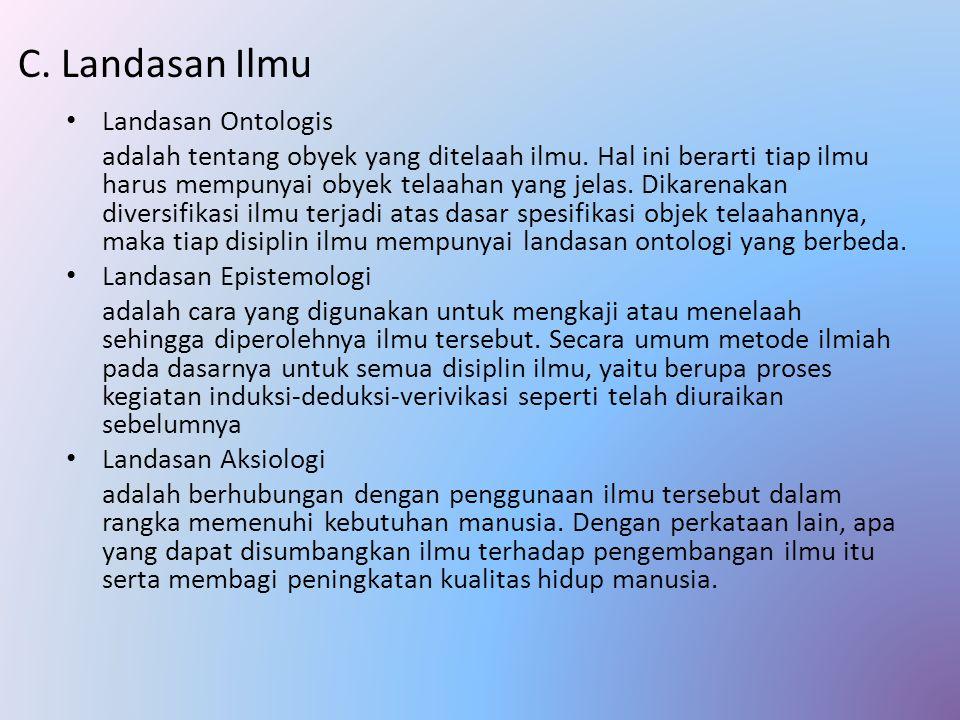 C. Landasan Ilmu Landasan Ontologis