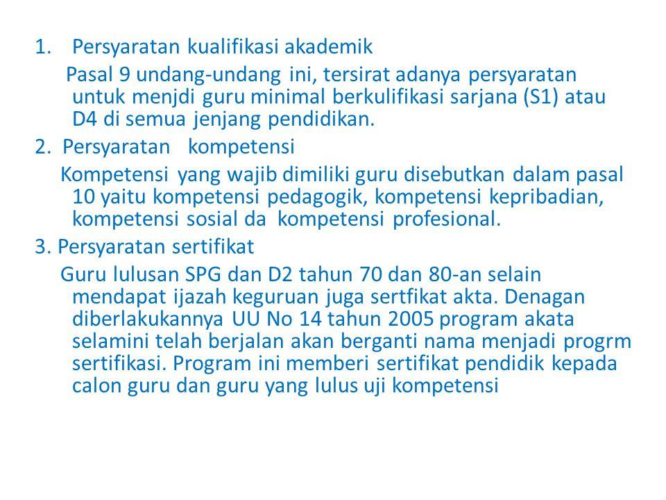 Persyaratan kualifikasi akademik
