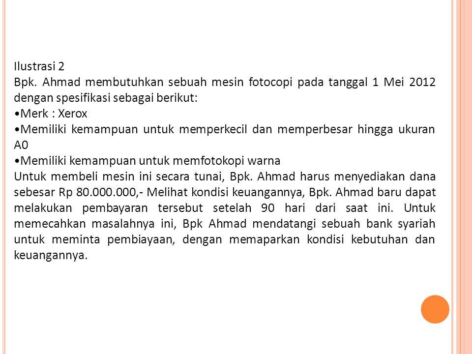 Ilustrasi 2 Bpk. Ahmad membutuhkan sebuah mesin fotocopi pada tanggal 1 Mei 2012 dengan spesifikasi sebagai berikut: