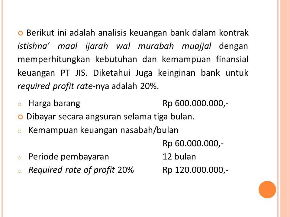 Berikut ini adalah analisis keuangan bank dalam kontrak istishna' maal ijarah wal murabah muajjal dengan memperhitungkan kebutuhan dan kemampuan finansial keuangan PT JIS. Diketahui Juga keinginan bank untuk required profit rate-nya adalah 20%.